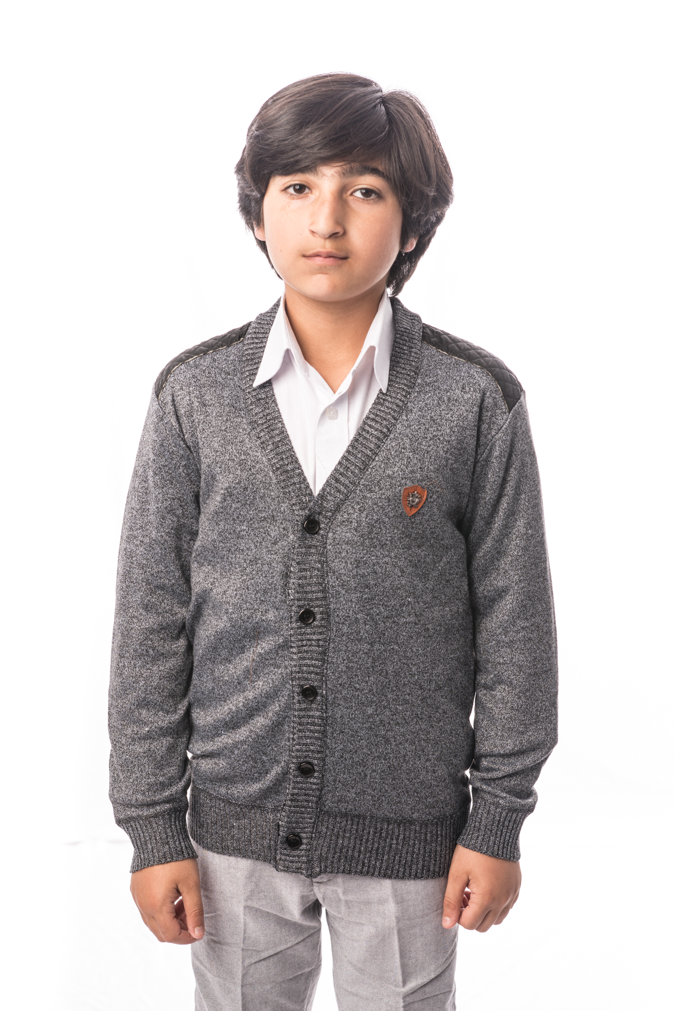 Mélange Cardigan with Leather Elbow Patch Boys Sweater EBST1613B