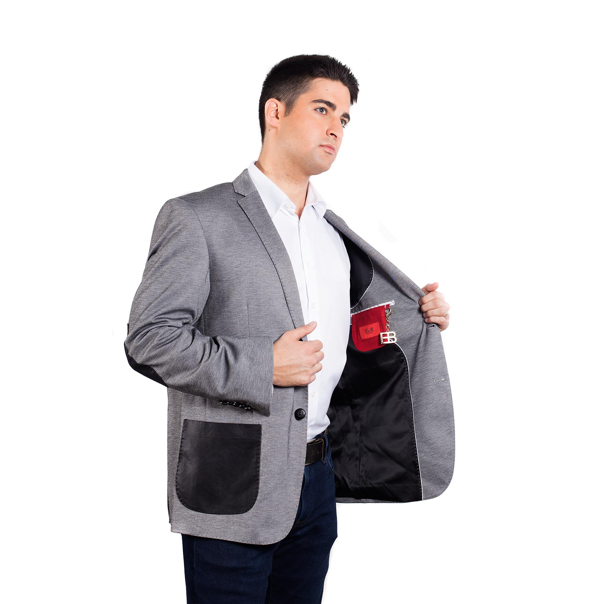 Knit Mélange with Leather Men Blazers / Sports Coat Jacket EBBW1542M