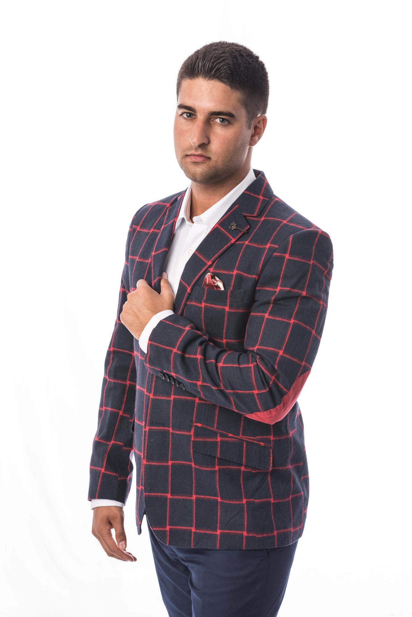 Fading Plaid Men Blazers / Sports Coat Jacket EBBS1678M