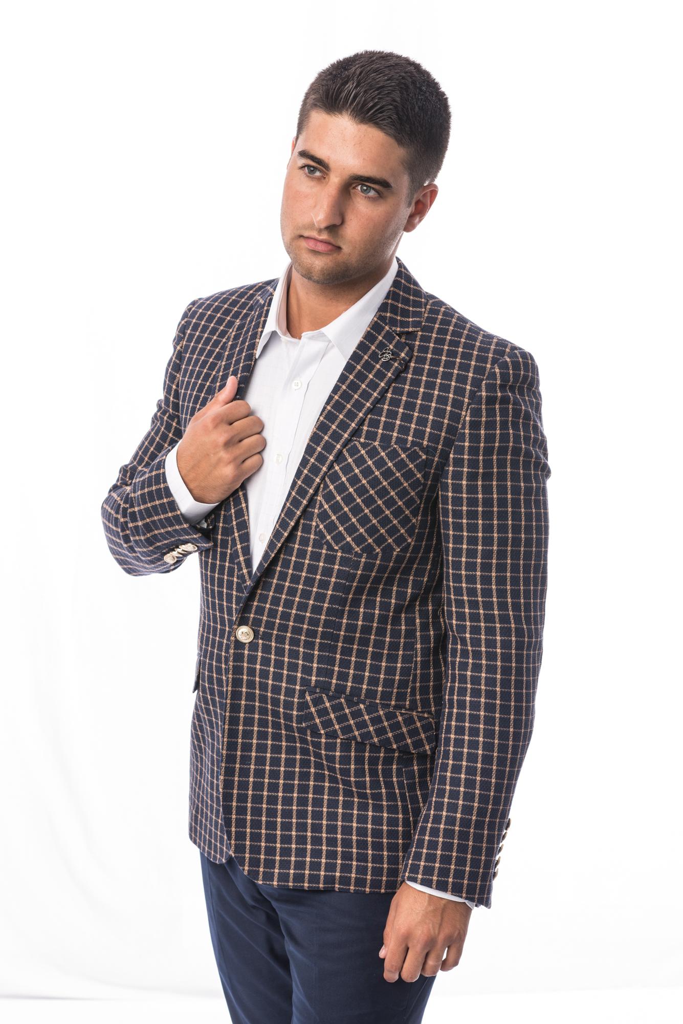 Small Check Design Men Blazers / Sports Coat Jacket EBBS1684M